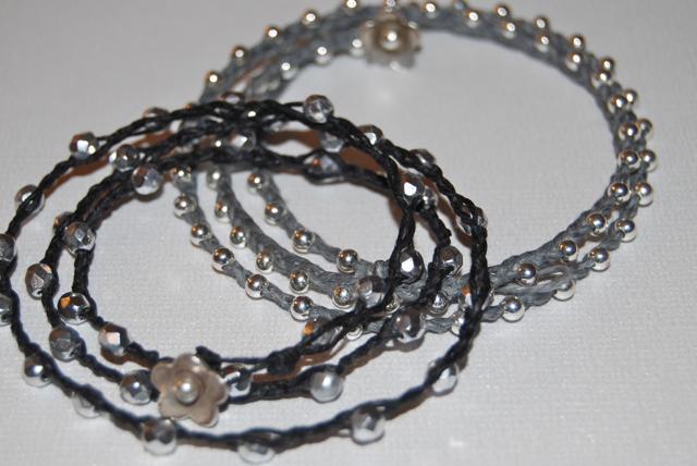 Waxed Linen Sparkly Bracelets